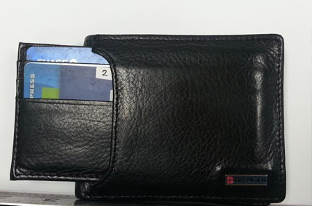 """Wallet shown with """"speed spending"""" 4 card inner wallet extended."""