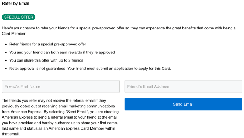 amex referral no lifetime language