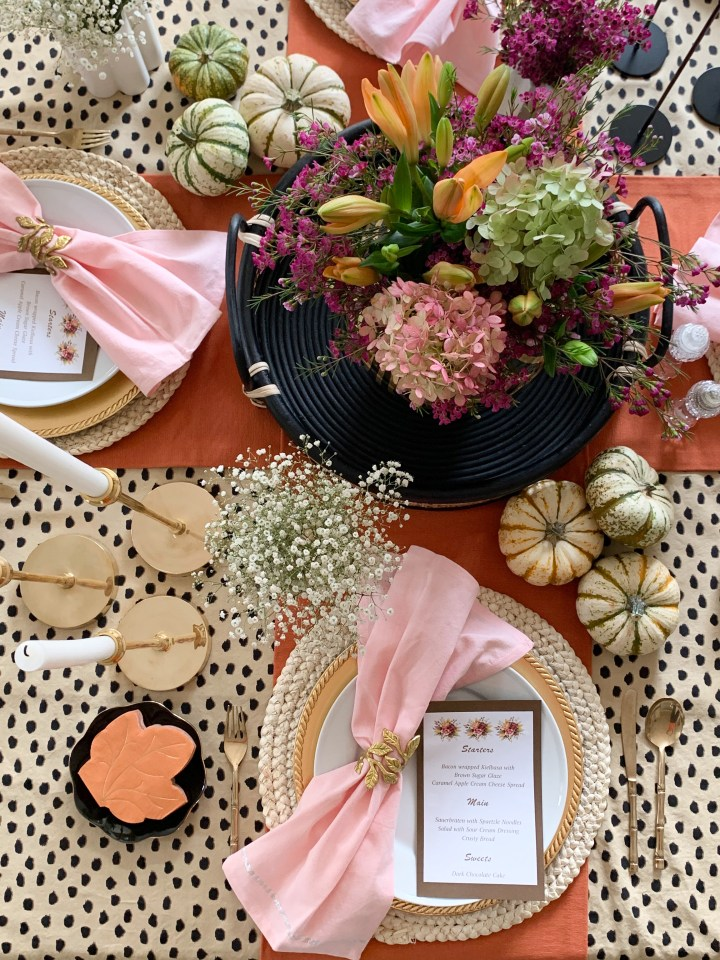 Orange, Pink and Black Autumn Tablescape