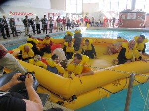 In the raft, ready to erect the covering
