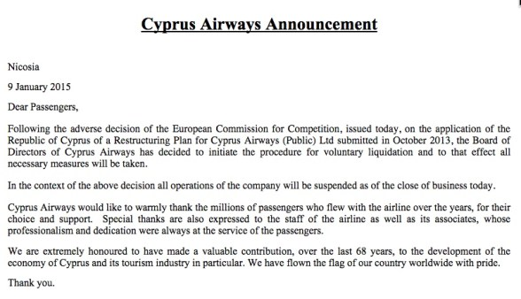 Cyprus Airways announcement