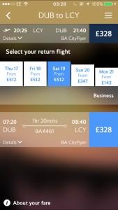 Fares flights return