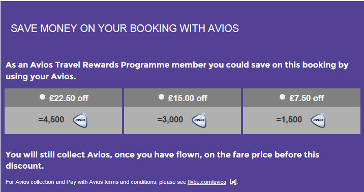 Flybe Avios rates