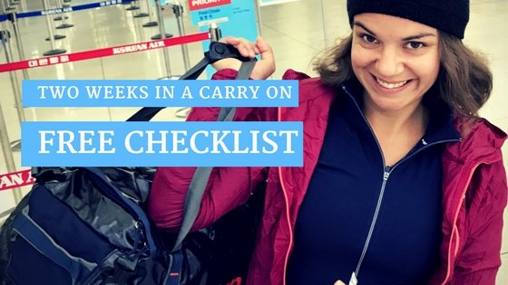 Checklist for two weeks in a carry on