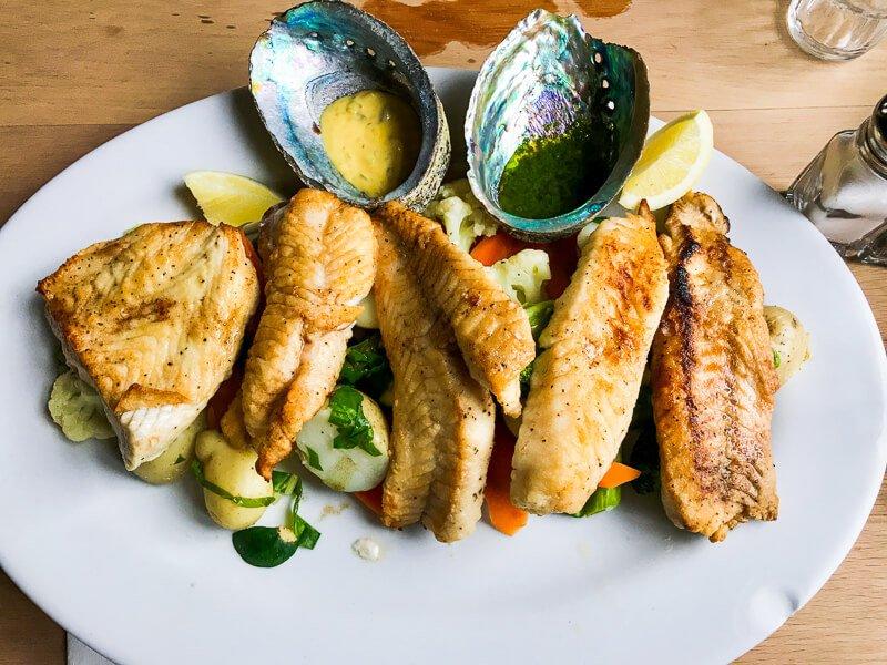 Fish at Fleurs Place Restaurant New Zealand