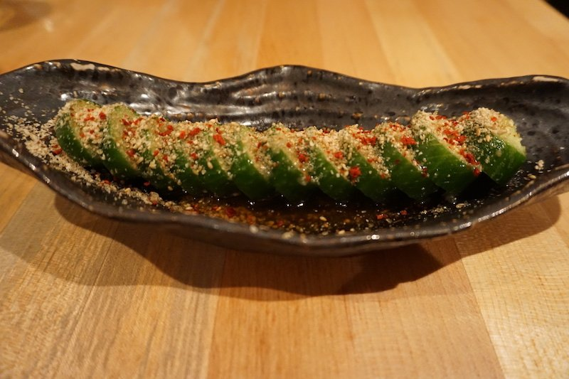 Japanese style spicy cucumbers on table