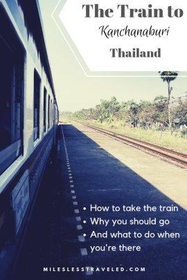 Train and train platform text overlay The Train to Kanchanaburi Thailand