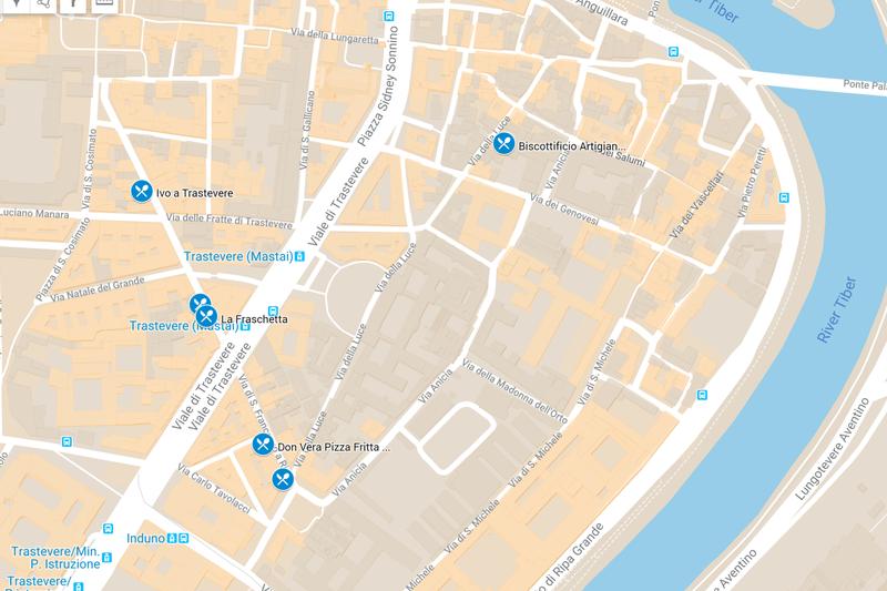 Map of Restaurants in Trastevere Rome
