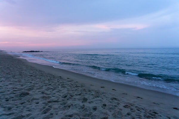 Sunset views of the beach and ocean at NJ shore