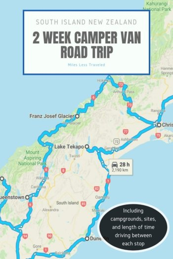 New Zealand Road Trip Map with outlined route on South Island