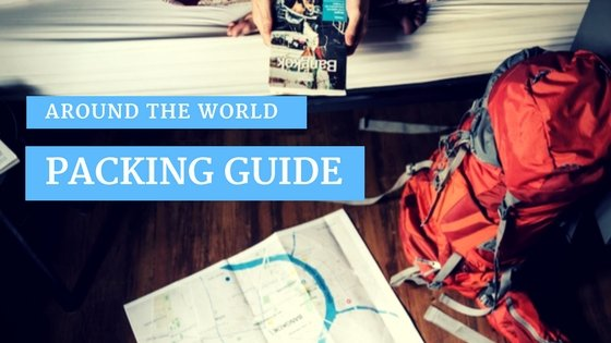 Packing guide for around the world travel, backapck, map, and person holding Bangkok travel guidebook