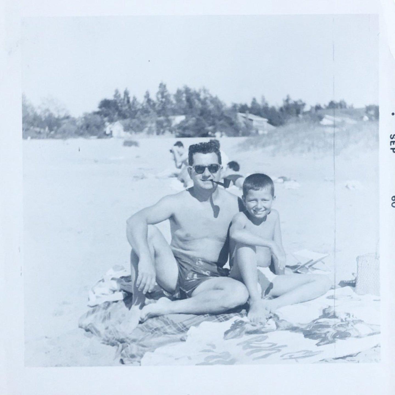 Grandpa and dad on beach