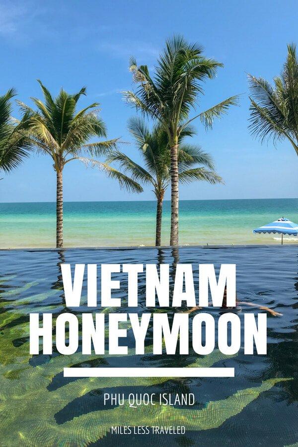 Vietnam Honeymoon Phu Quoc Island text overlay palm trees on beach