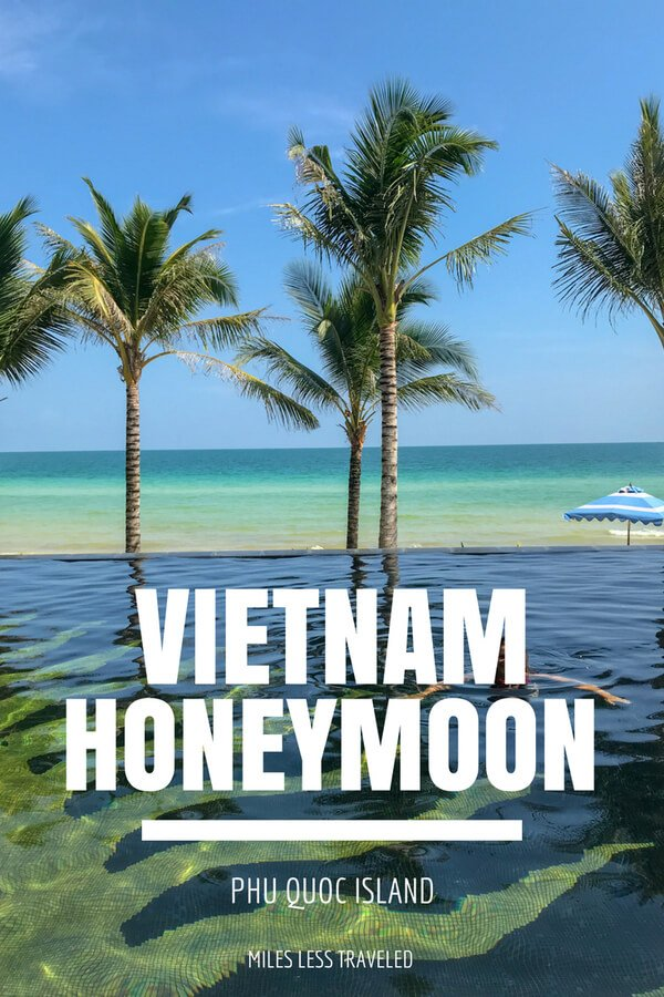 Vietnam Honeymoon Phu Quoc Island text overlay palm trees on beach
