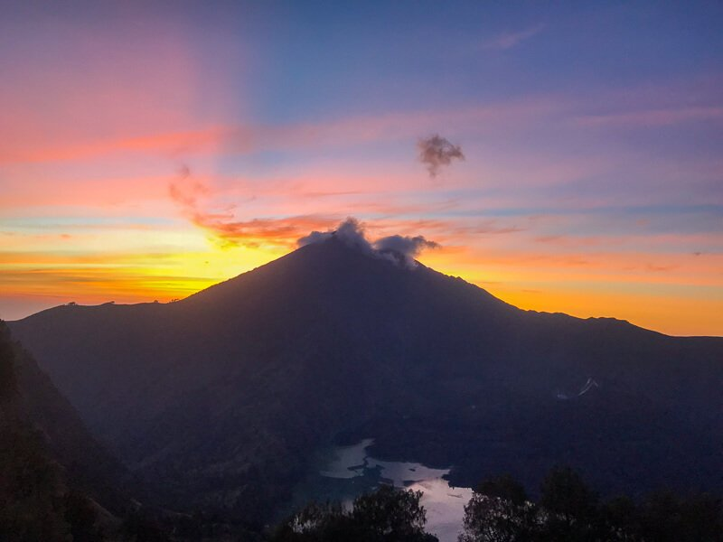 Sunrise behind Mt Rinjani in Indonesia