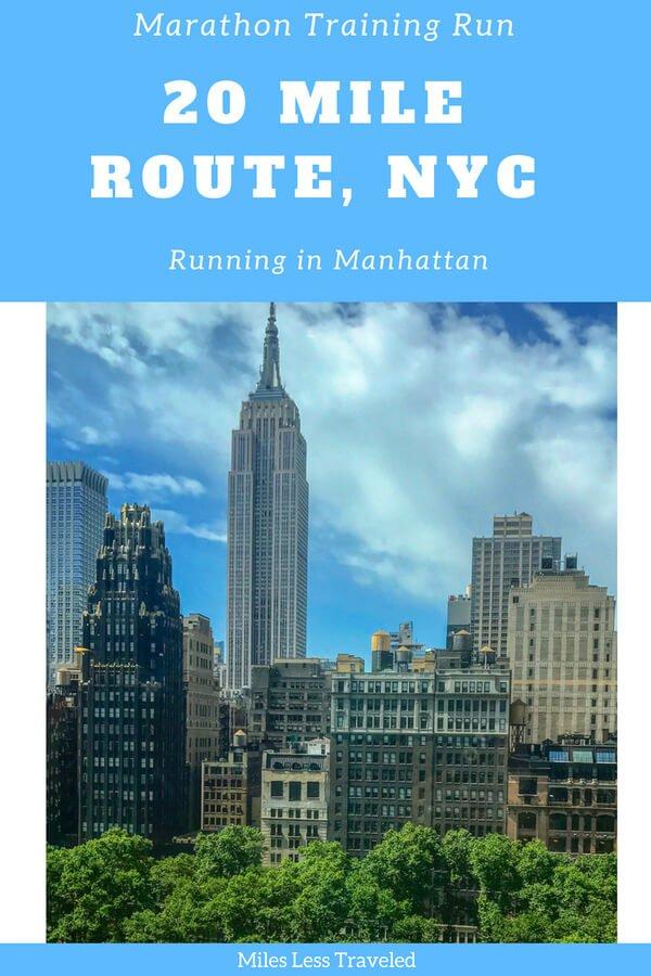 marathon training run 20 mile route, nyc running in manhattan with nyc skyline