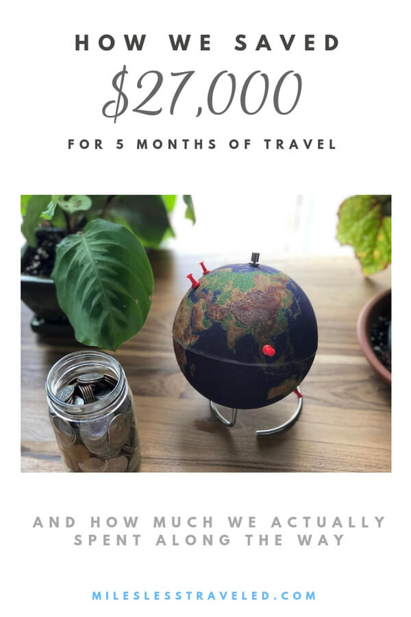 Globe with pins in it jar of coins potted plants on wood table text overlay how we saved $27,000 to travel for 5 months