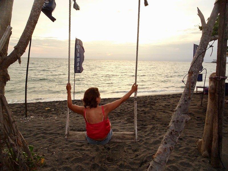 Sengiggi sunset beach swing