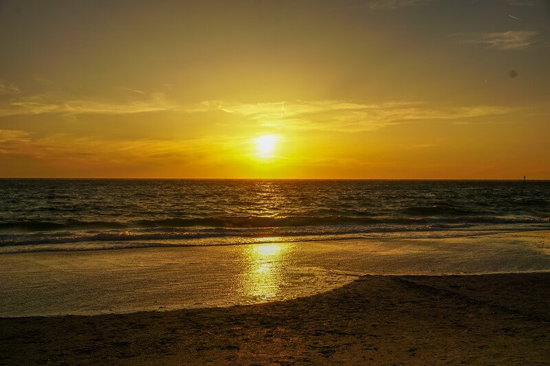 Sunset over the Gulf of Mexico in Siesta Key Florida