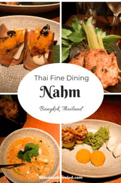 Pictures of four dishes of food with text overlay Thai Fine Dining Nahm Bangkok Thailand
