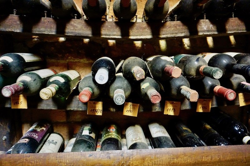 Dusty old bottles of Brunello wine