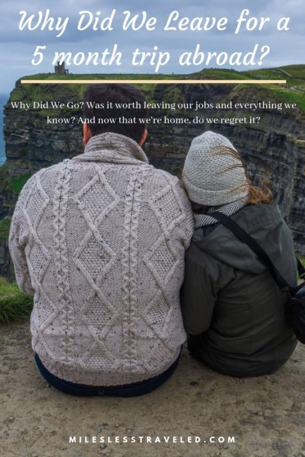 couple sitting with backs to camera at cliffs of moher text overlay