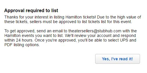 You must request access to sell Hamilton NY tickets on Stubhub