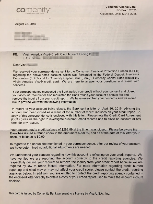 Comenity responds to my CFPB complaint    - Miles per Day