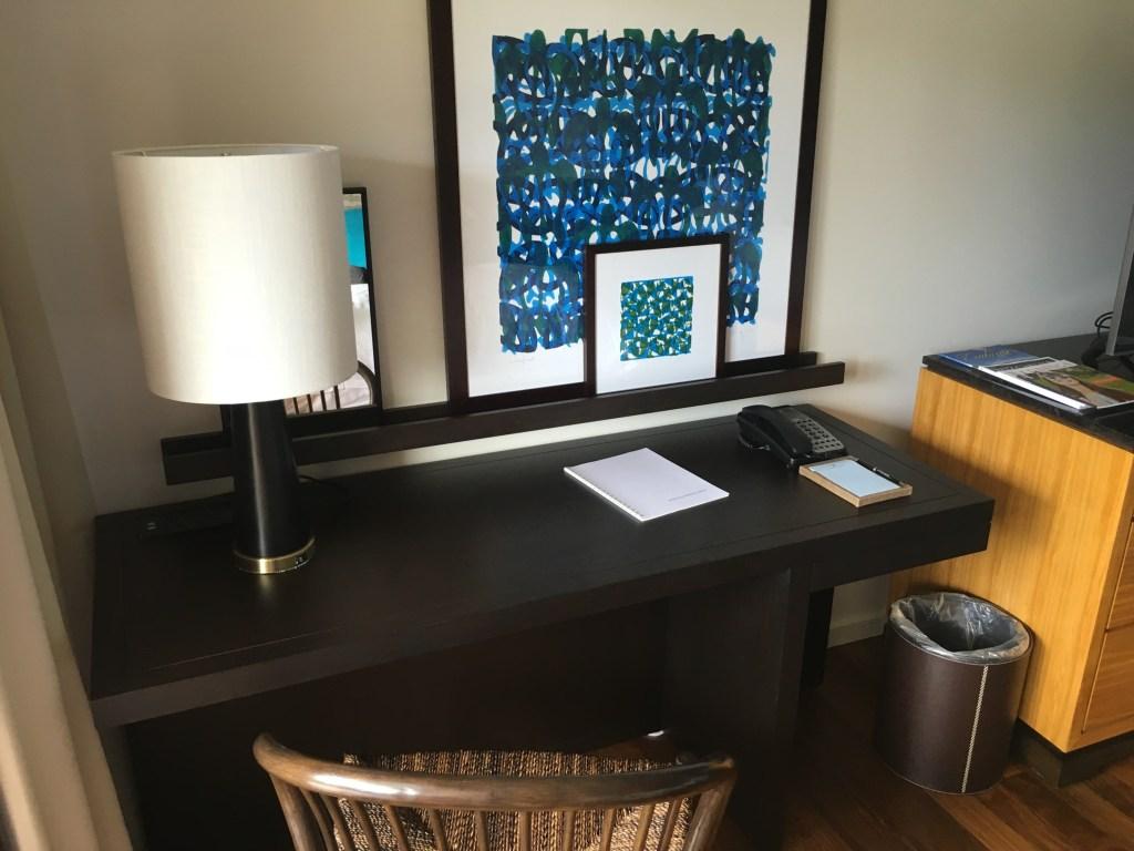 The desk area