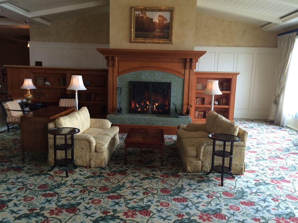 The fireplace in the lobby