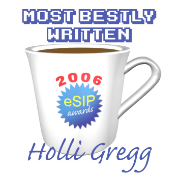 A graphic depicting a coffee cup as the 2006 eSIP Award for Most Bestly Written