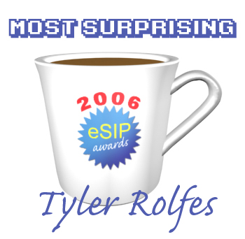 A graphic depicting a coffee cup as the 2006 eSIP Award for Most Surprising