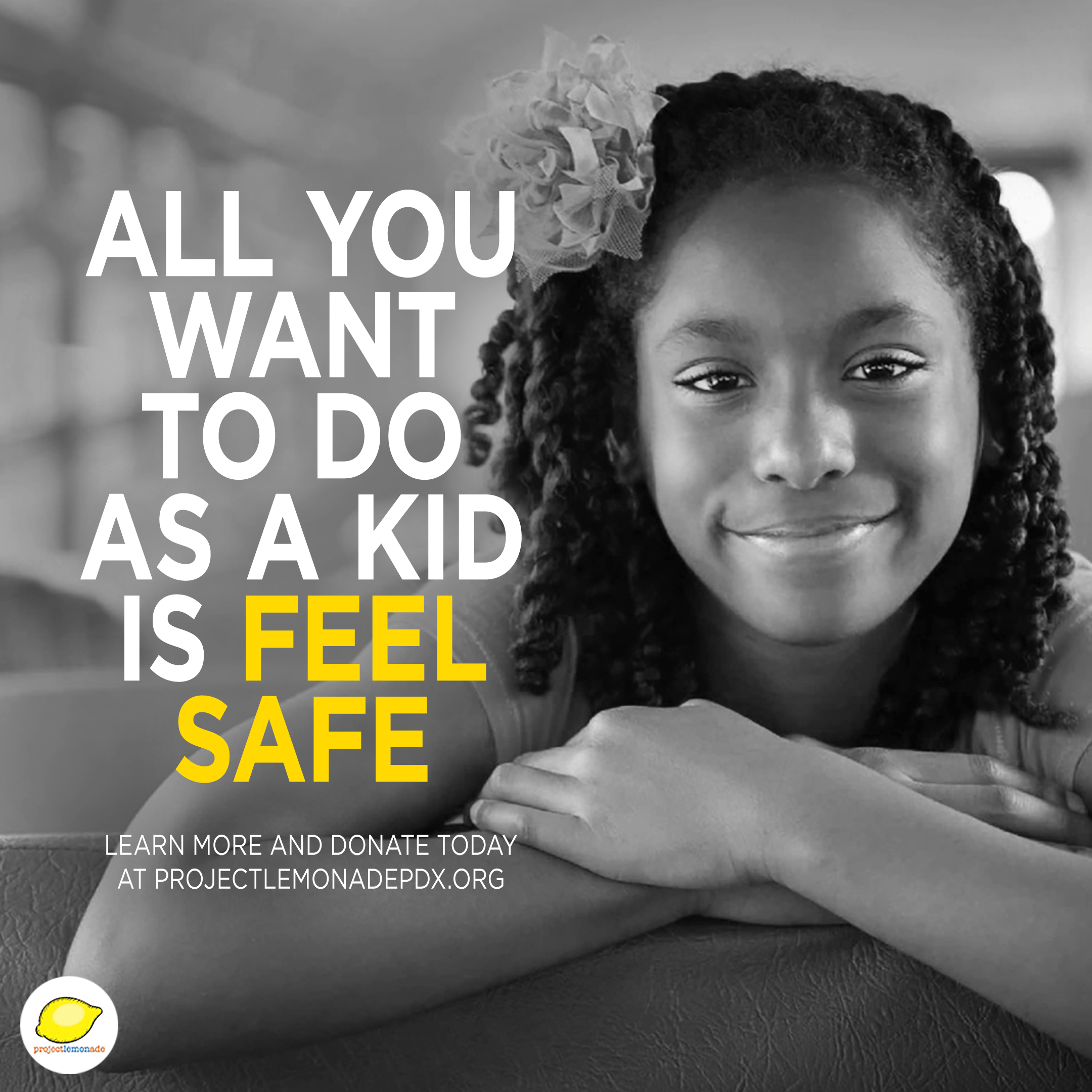 """Black female student smiling from a school bus with text, """"All you want to do as a kid is feel safe"""" during National Foster Care Month 2020 (NFCM2020)."""