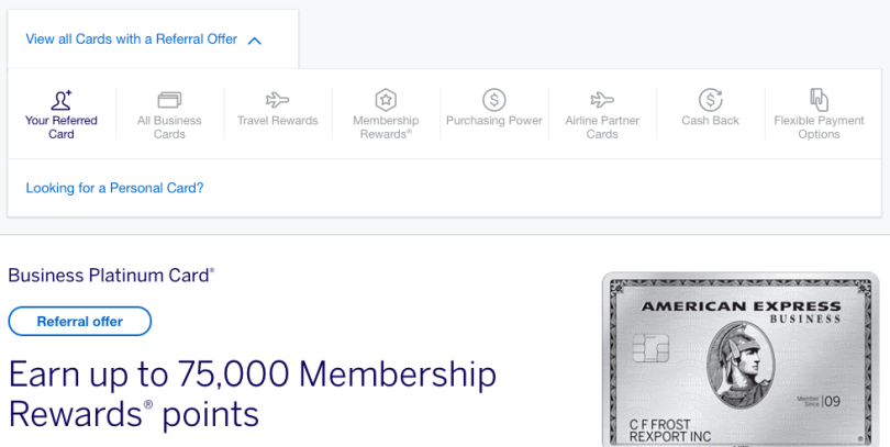 Amex multi-card referral