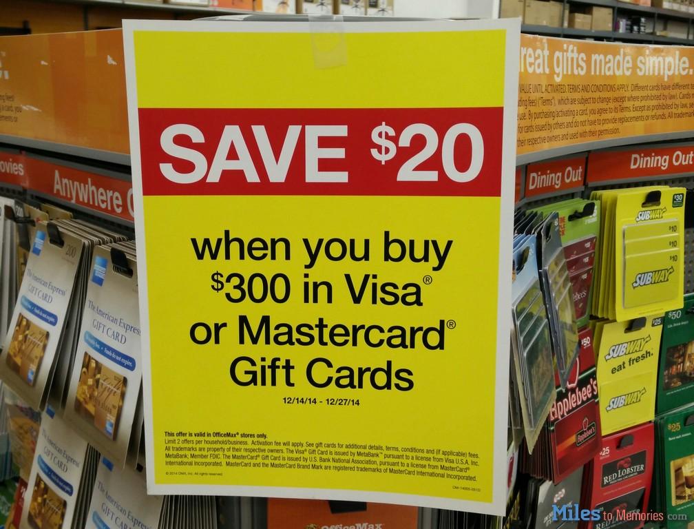 Make Money Officemax 20 Off VisaMC Gift Cards