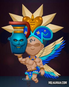 Deli is an evil urn held up by a winged humanoid golem.