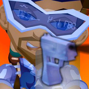 Etgar aims a holographic gun.