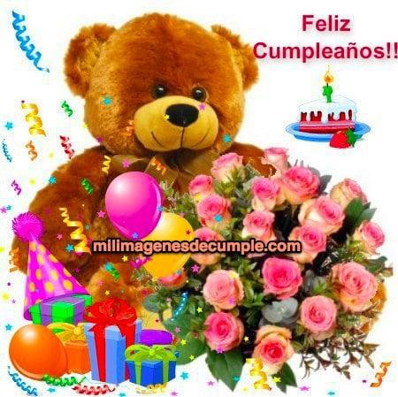 imagenes de cumpleaños con osito, regalos y flores