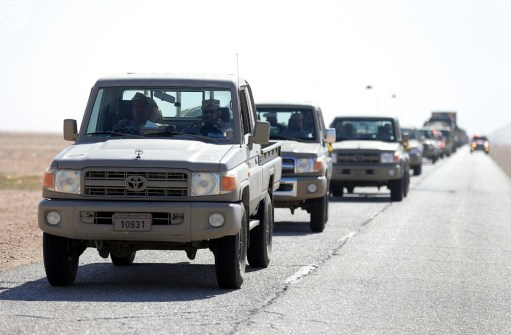 "Qatar Emiri Land Force Toyota Land Cruiser HZJ79s heading for ""Northern Thunder"""