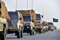 "Saudi Arabian National Guard Pinzgauer 716M, Steyr 12M18 & Peugeot Boxer trucks during ""Northern Thunder"""