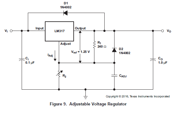 LM317 variable voltager regulator example