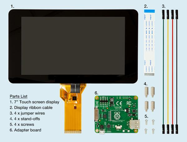 "7"" touch screen raspberry pi LCD part list"