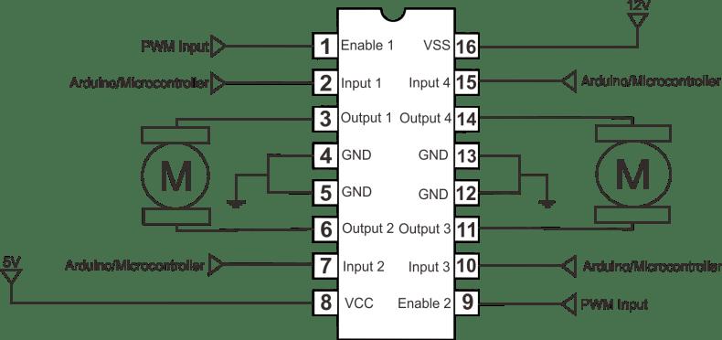 L293D with motors schematic