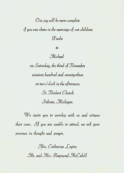 Wedding Invitation From 1973