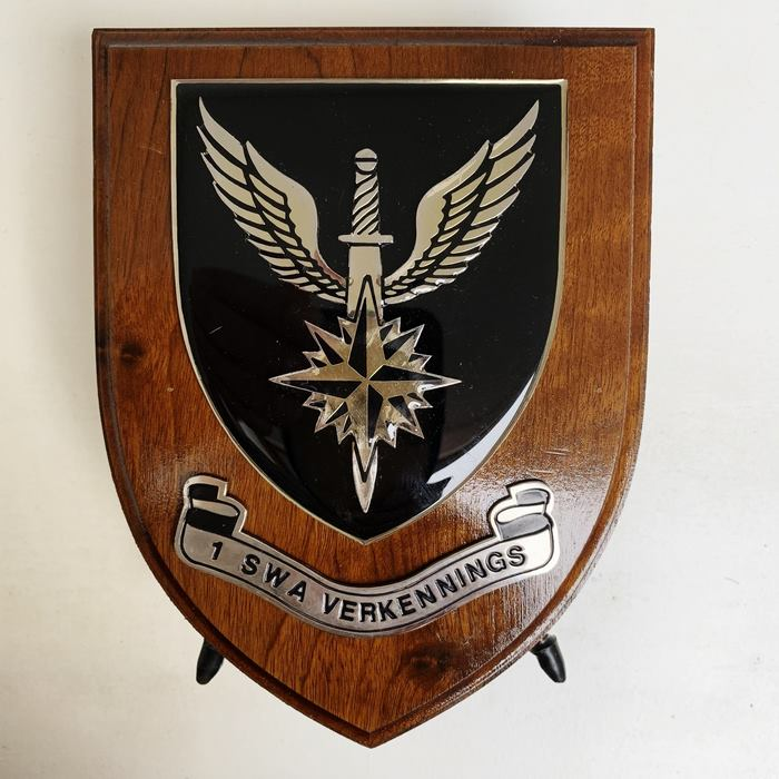 RECCE 1st SWA Special Forces South West African Territorial Force Command Wood Shield Plaque