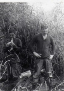 Trail is behind the head of Hays' (left). NVA appeared minutes after the photo was taken