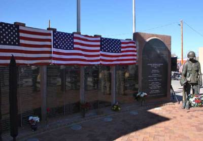 Flags on memorial