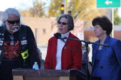 Circe Woessner at podium
