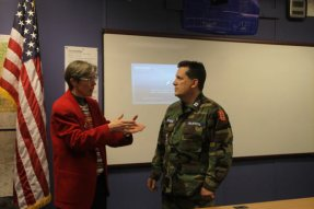 Circe and CPT Jerry Delmore discuss the CAP Cadets plans for Operation Footlocker