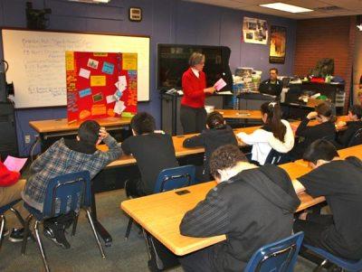 Circe Olson addressing class of students